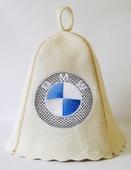 """Шапка для сауны (светло-серый войлок) """"BMW"""""""