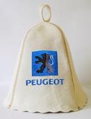 """Шапка для сауны (светло-серый войлок) """"Peugeot"""""""