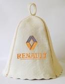 """Шапка для сауны (светло-серый войлок) """"Renault"""""""