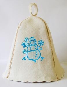 """Шапка для сауны (светло-серый войлок) """"Снеговик"""""""