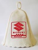 """Шапка для сауны (светло-серый войлок) """"Suzuki"""""""