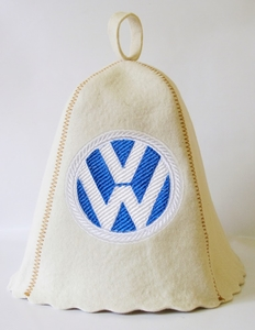 "Шапка для сауны (светло-серый войлок) ""W - Volkswagen"""